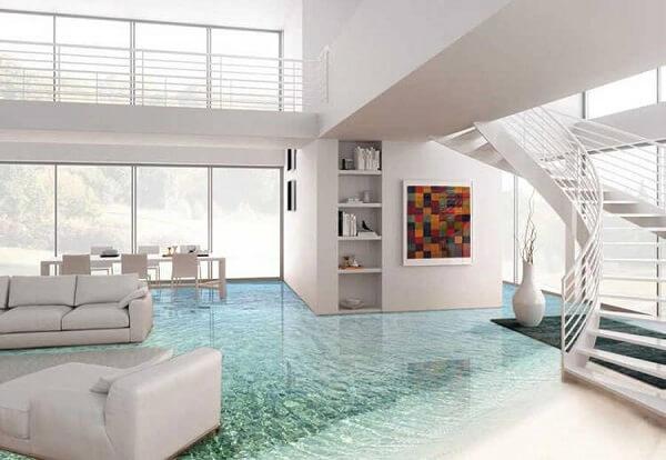 A decoração da sala de estar encanta e transborda o estilo praiano com esse piso 3d