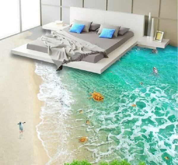 Adesivo 3D para piso com temática de praia