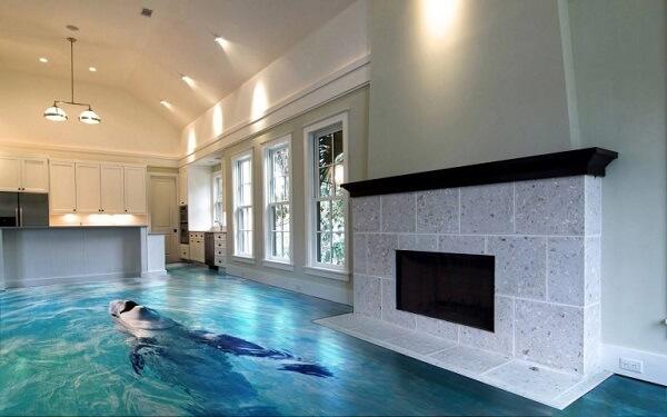 Piso 3D utilizado na decoração de ambiente integrados