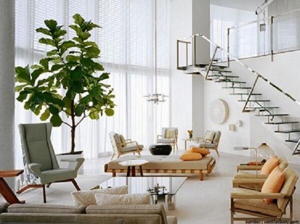 Aposte em vasos com plantas artificiais para sala