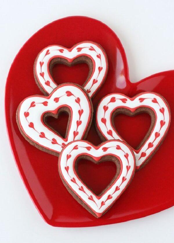 Biscoitos decorados especialmente para o dia dos namorados. Fonte: Pinterest