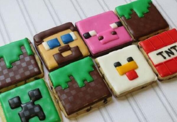Biscoitos personalizados com o tema festa minecraft