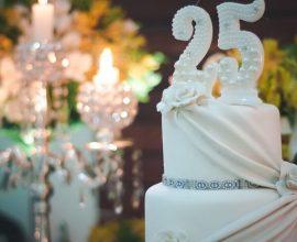 Bodas de prata bolo comemorativo