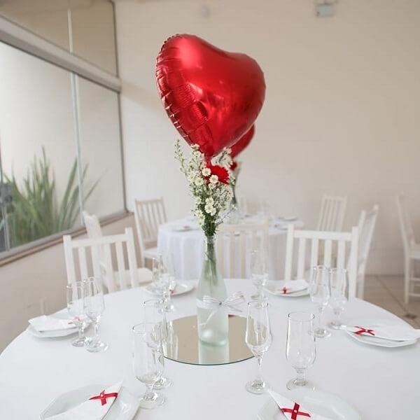 Bodas de prata mesa com balão de coração