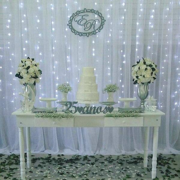 Bodas de prata mesa de festa