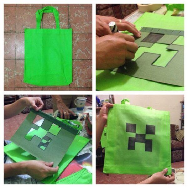 Como personalizar sacolinha de lembrancinhas com o tema minecraft