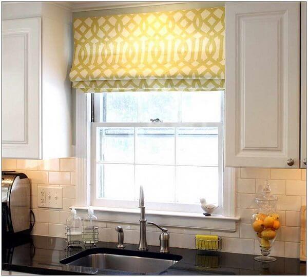 Cortina para cozinha amarela