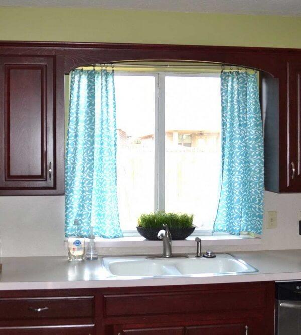 Cortina para cozinha azul