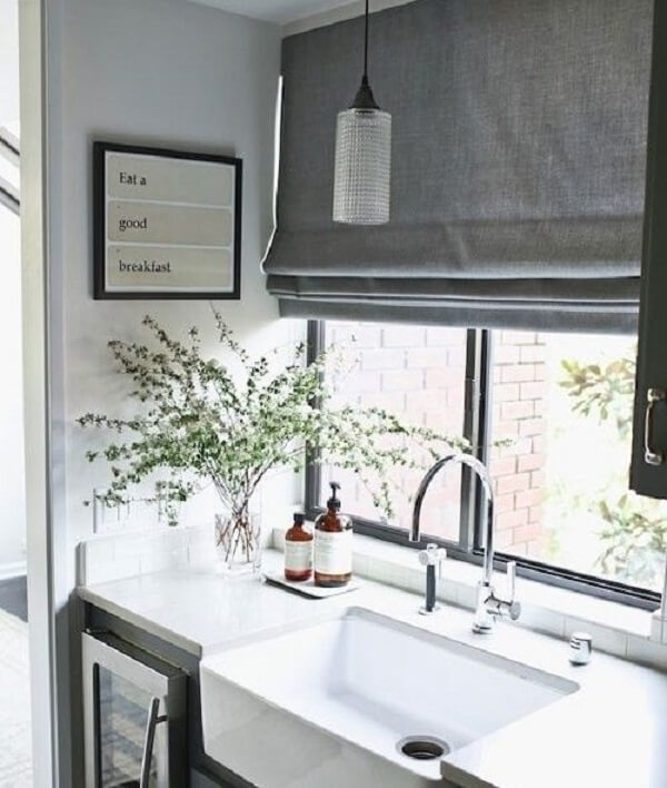 Cortina para cozinha cinza
