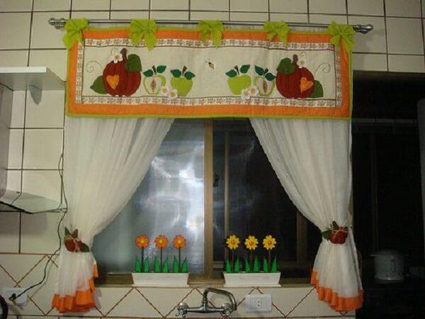 Cortina para cozinha simples de patchwork