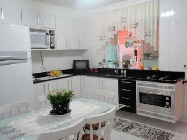 Cortina para cozinha simples de renda
