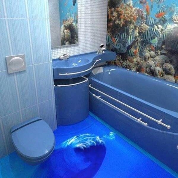 Decoração de banheiro com piso 3D
