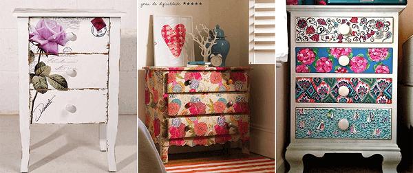Decoupage aplicado em móveis de madeira