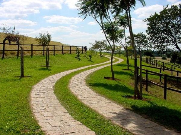 Caminho de pedra e árvores complementam a entrada de chácara