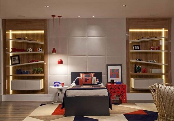 Estante para quarto de menino com design criativo e iluminado