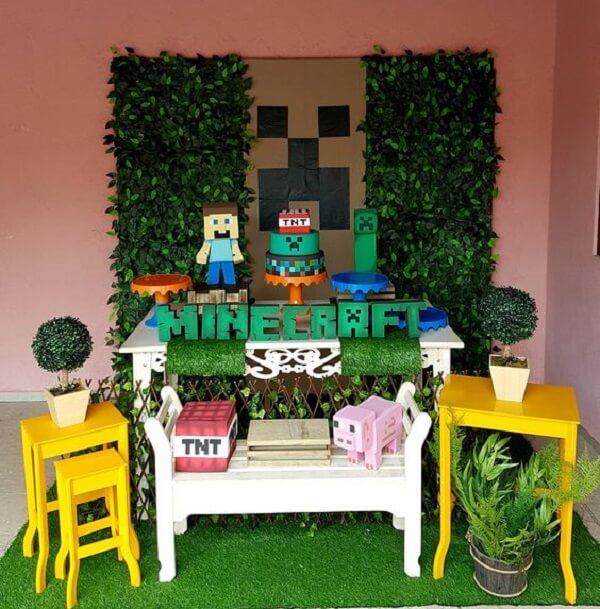 Festa minecraft com decoração de mesa simples