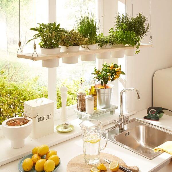 Mescle temperos naturais com flores artificiais no ambiente da cozinha