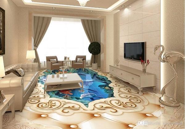 Personalize sua sala de estar utilizando piso 3D