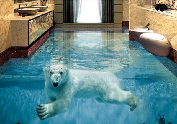 Piso 3D com imagem de urso polar