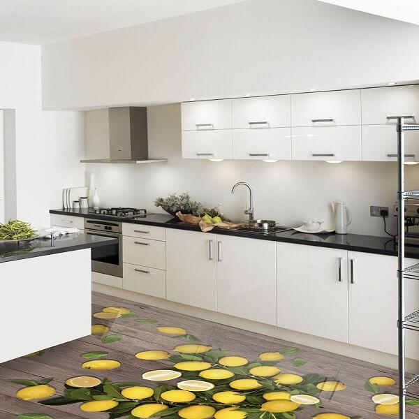 Piso 3D aplicado no ambiente da cozinha