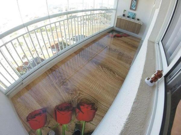 Piso 3D com desenho de rosas aplicada na varanda