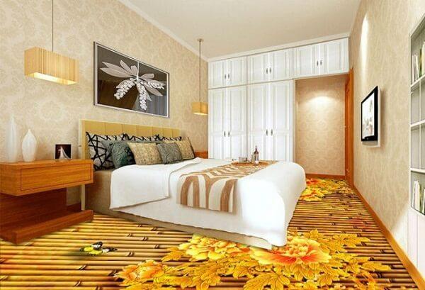 Piso 3D com temática de flores aplicado no quarto de casal