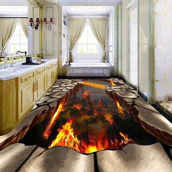 Piso 3D com temática de vulcões aplicado no banheiro