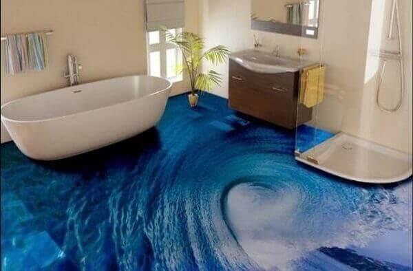 Piso 3D imitando uma onda do mar aplicado no banheiro