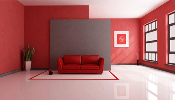 Piso em 3D aplicado nas cores branco e vermelho na sala de estar