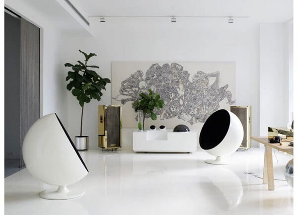 Piso líquido 3D na cor branca aplicado na sala de estar