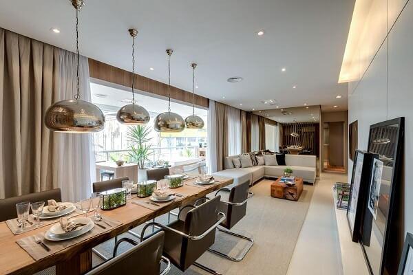 Sala de estar e jantar conjugadas