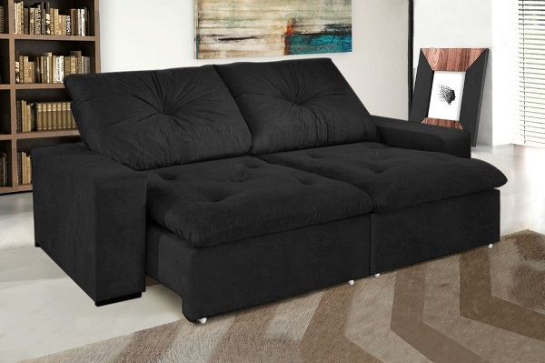 Traga versatilidade para a sala de estar utilizando sofá preto retrátil