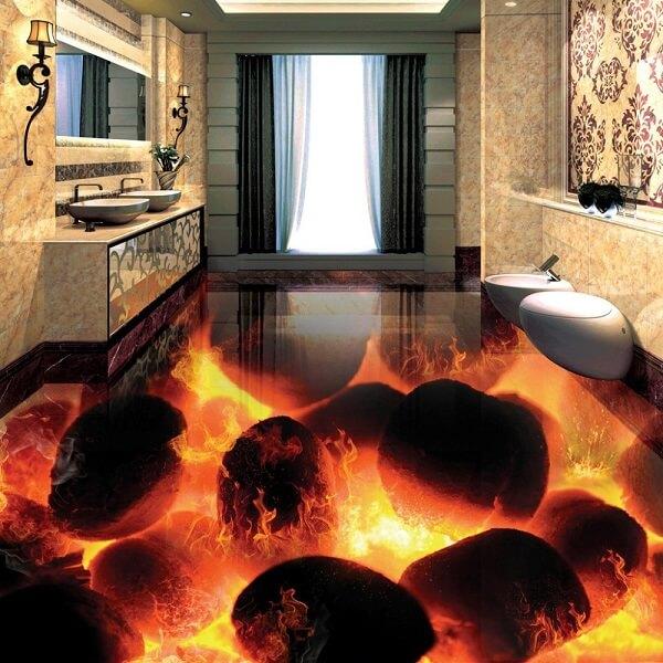 Temática de vulcões para piso 3D