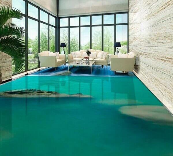 Transforme a decoração da sua sala de estar utilizando o piso 3D