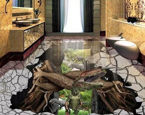 Transforme a decoração do banheiro em um ambiente divertido usando piso 3D