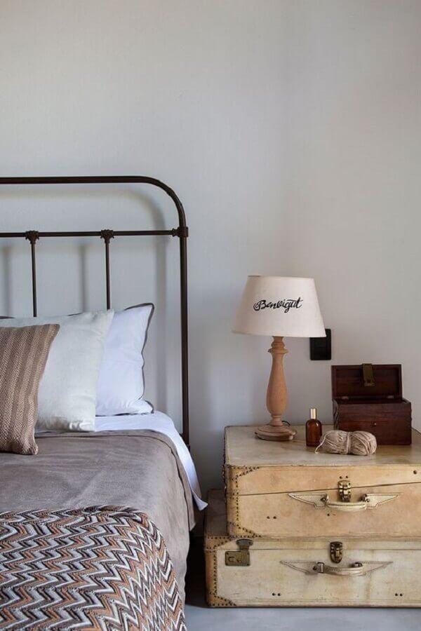 abajur para quarto com decoração simples e rústica Foto Casa de Valentina