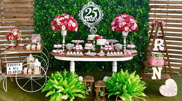 bodas de prata mesa