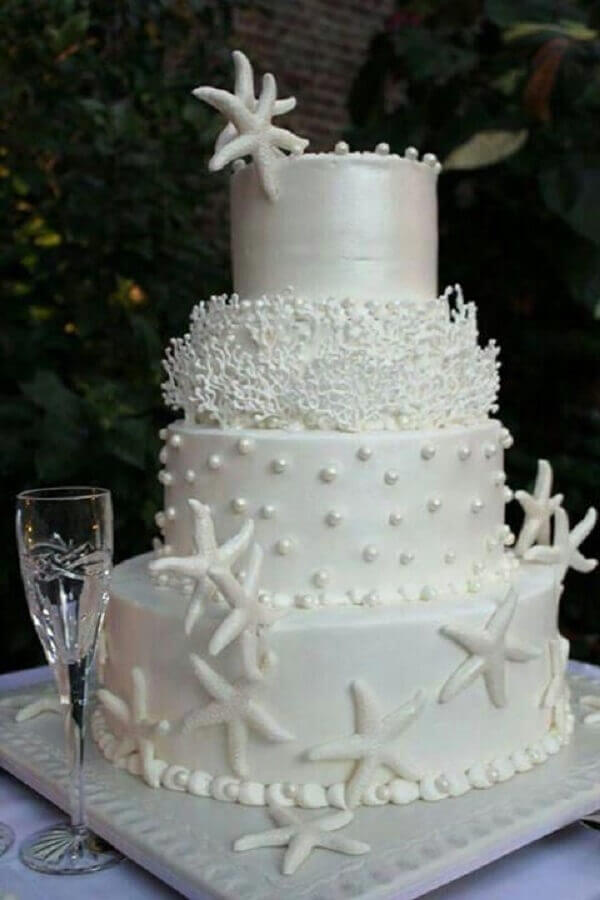 bolo bodas de pérola decorado com tema do mar Foto Pinterest