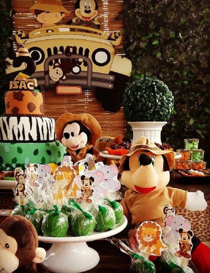 bonequinhos para decoração festa do mickey safari Foto Pinterest