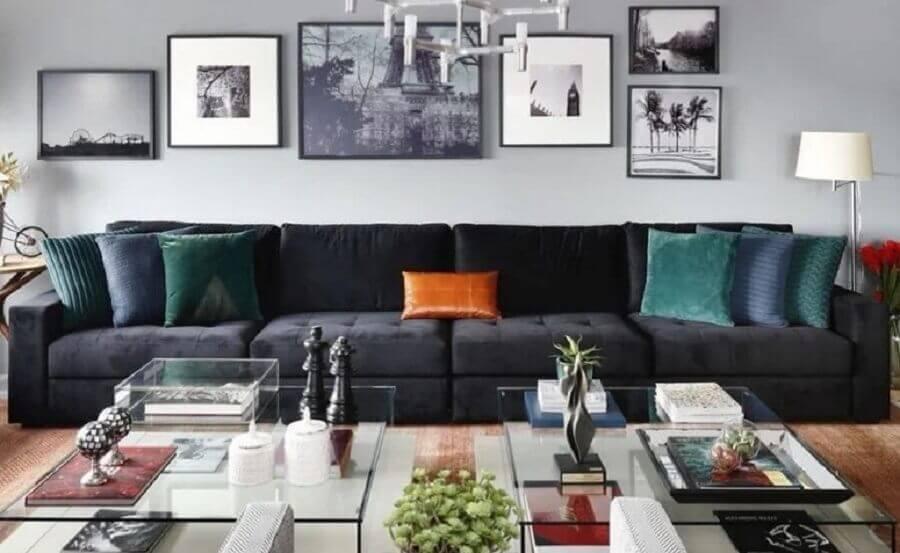 decoração com almofadas para sofá preto Foto Dudi Duarte Arquitetura