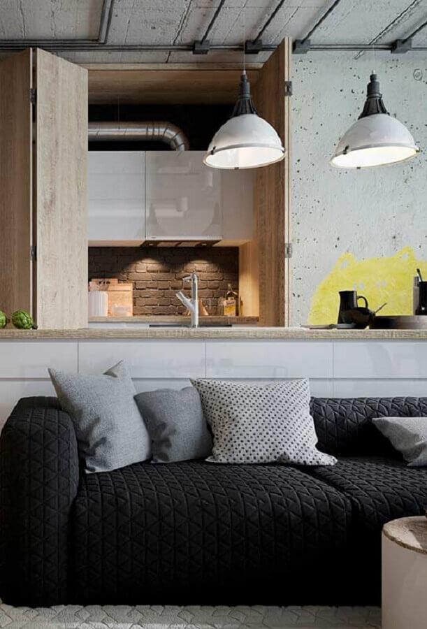 decoração de sala cinza com sofá preto Foto Futurist Architecture