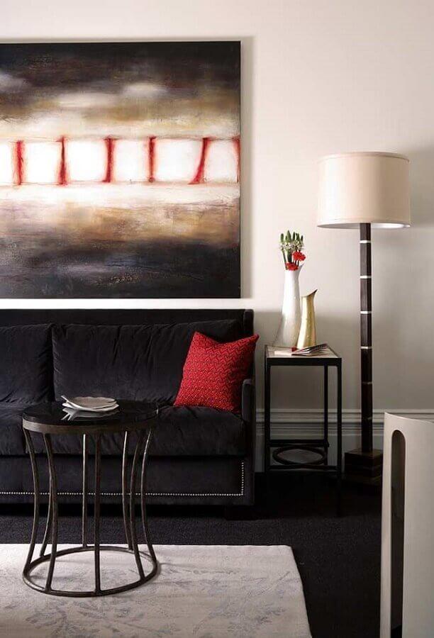 decoração de sala com sofá preto Foto Otimizi