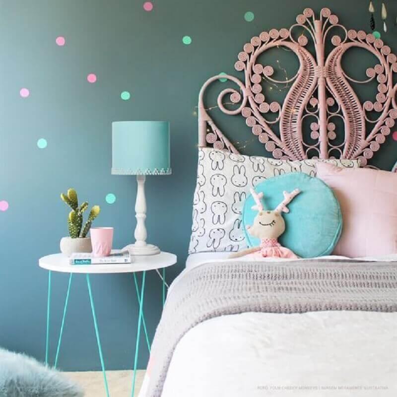 decoração delicada com abajur para quarto infantil feminino Foto Carambola Luminárias