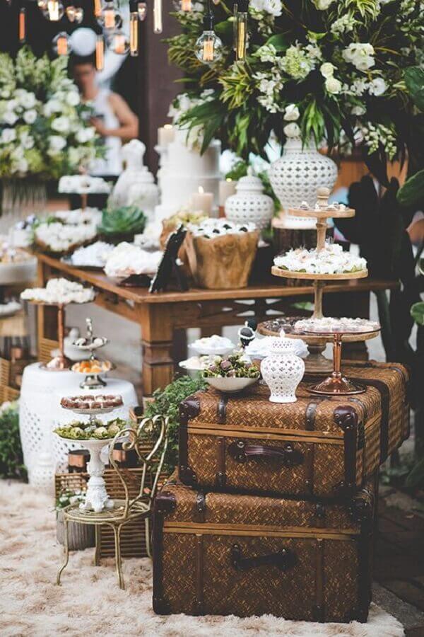 decoração rústica para bodas de pérola festa Foto Pinosy