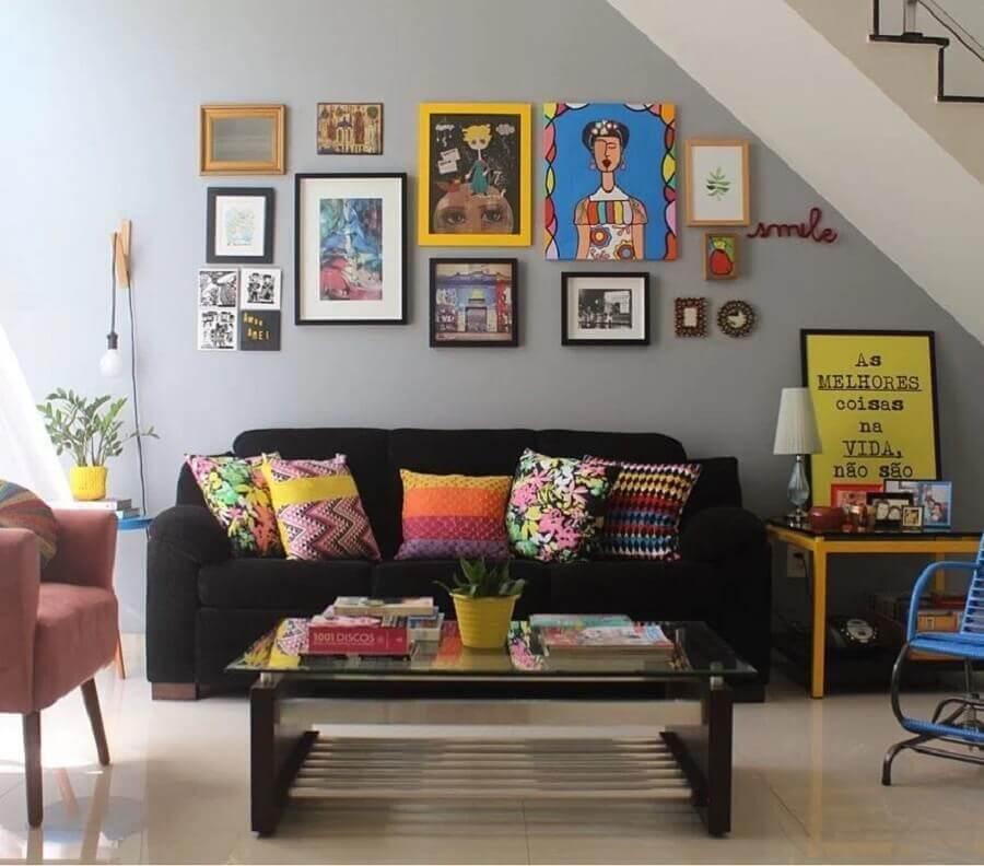 decoração simples com almofadas para sofá preto Foto Pinterest