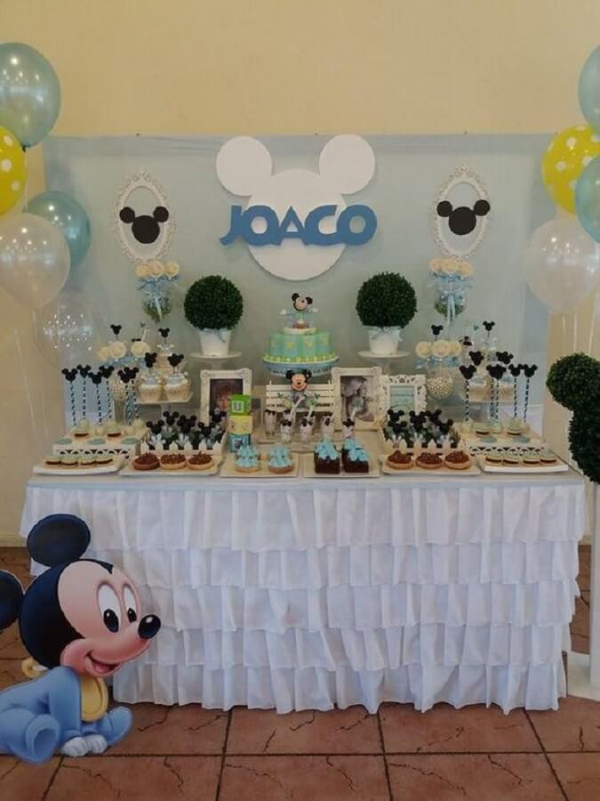 decoração simples para festa do mickey baby Foto Pinterest