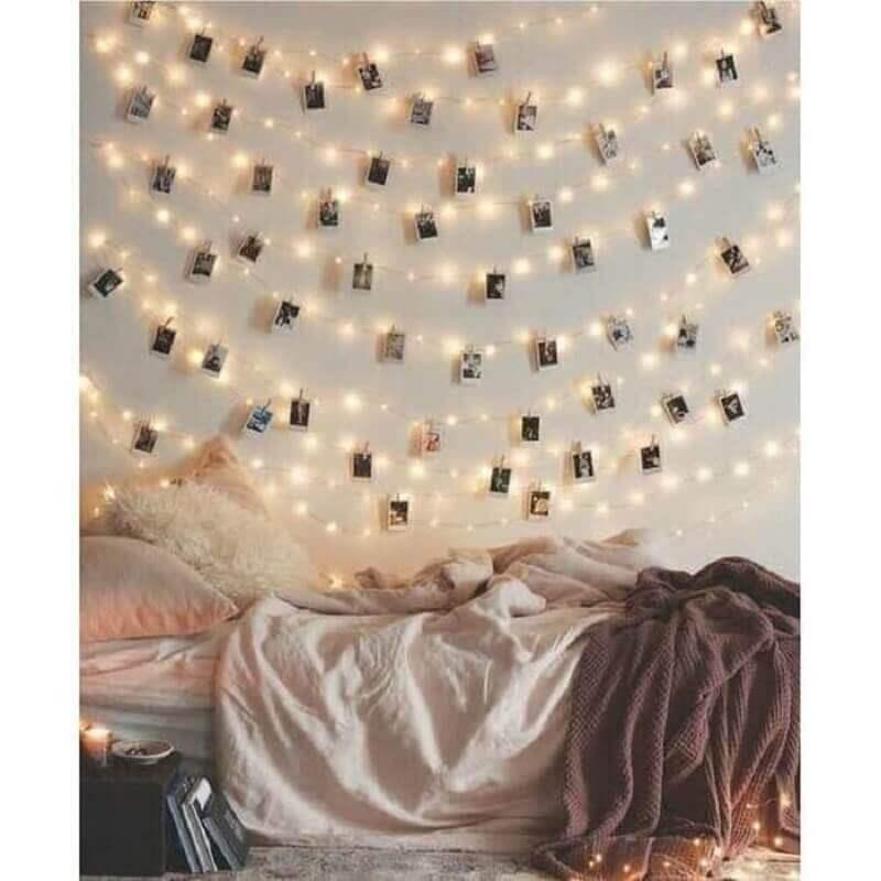 dicas de decoração barata para quarto com varal de fotos Foto Pinterest