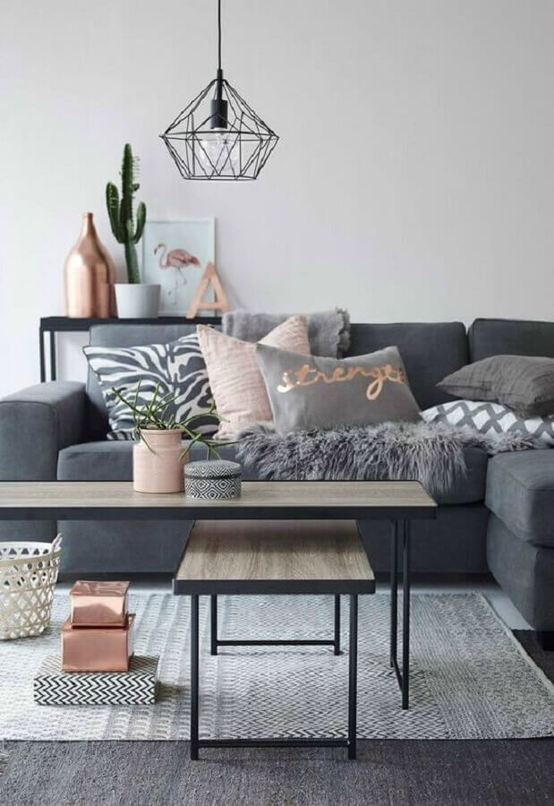 dicas de decoração minimalista para sala cinza Foto NZZ Bellevue