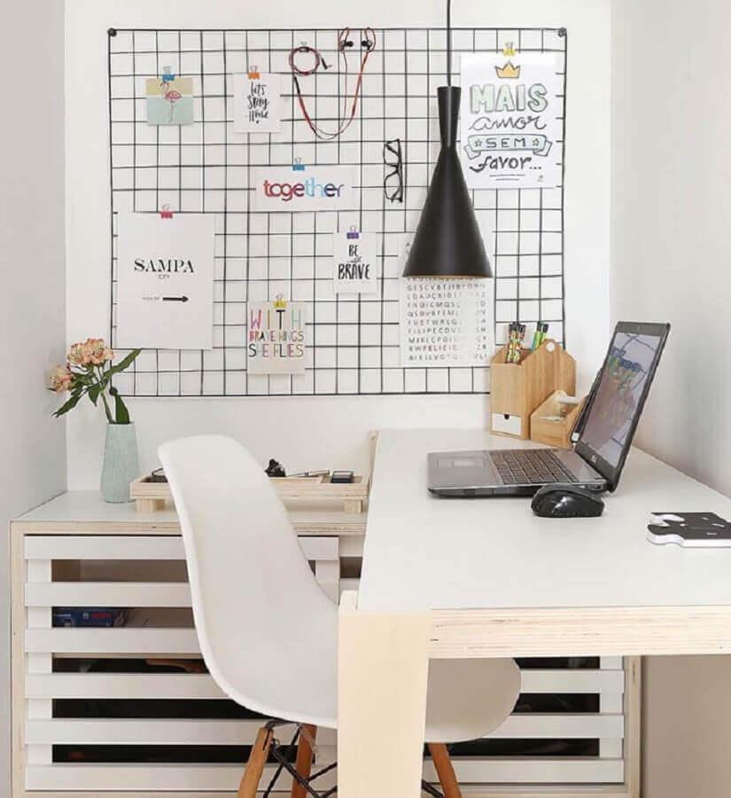 dicas de decoração para casa com grade aramada para recados Foto Quadros e Fatos