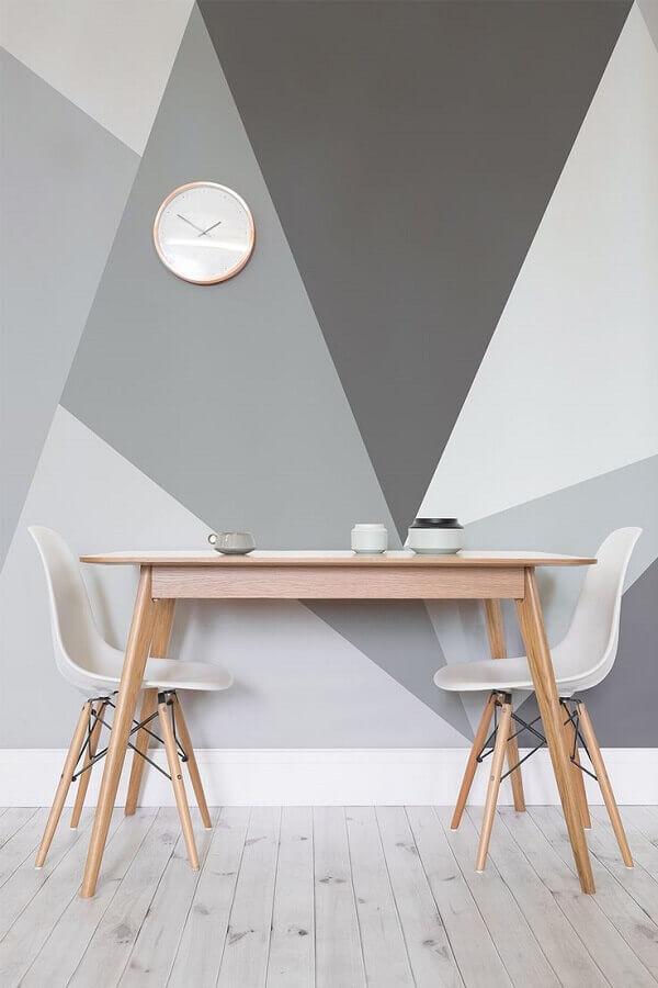 dicas de decoração para casa com parede pintada com desenhos em tons de cinza Foto 33DECOR